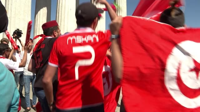 England beat Tunisia in opening match RUSSIA Volograd English and Tunisian football fans before world cup match RUSSIA Volgograd EXT Tunisian...