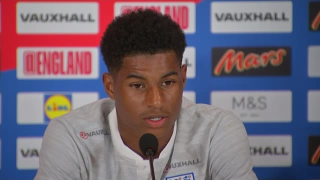 England beat Tunisia in opening match St Petersburg Repino INT Marcus Rashford press conference SOT