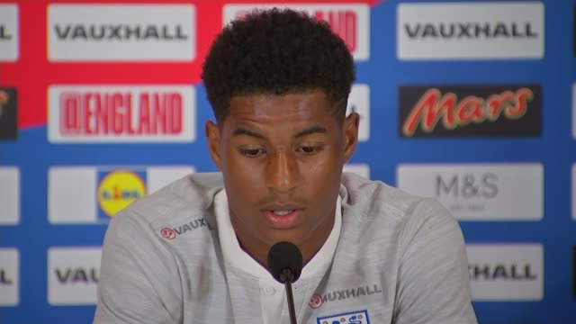 England beat Tunisia in opening match St Petersburg Repino INT Marcus Rashford press conference SOT Various of England football team training session