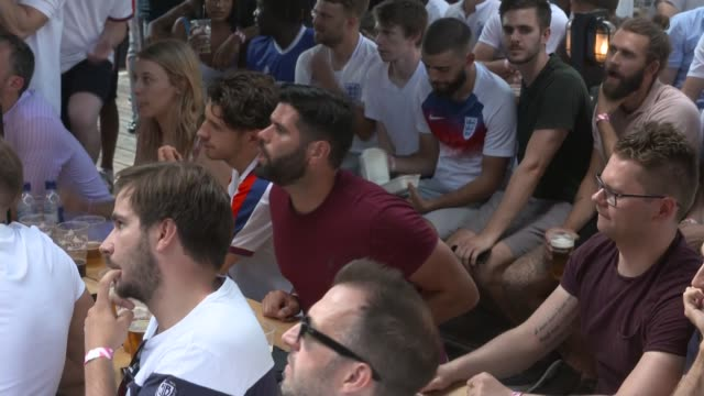 england fans in shoreditch watch quarterfinal win over sweden england london shoreditch ext various shots of england fans watching england play... - england stock videos & royalty-free footage