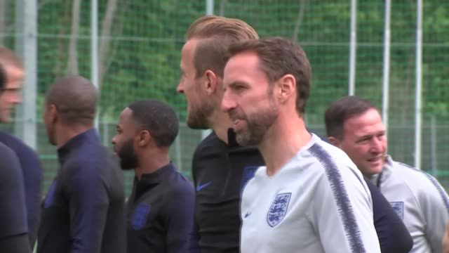 england player interviews and first training session in repino russia st petersburg repino ext **music heard sot** gareth southgate and players... - harry kane soccer player stock videos & royalty-free footage