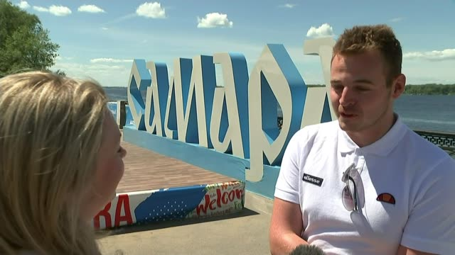 england players and fans prepare for quarter final against sweden russia samara ext vox pops england football fans - quarterfinal round stock videos & royalty-free footage