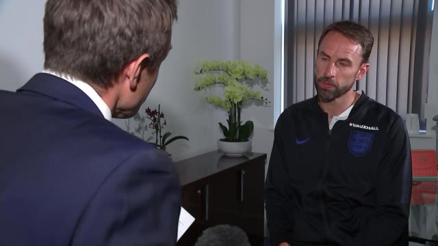 england players return home / harry kane gets golden boot uk birmingham gareth southgate interview england birmingham int gareth southgate interview... - harry kane soccer player stock videos & royalty-free footage