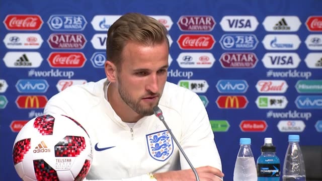 england prepare for quarter final against sweden russia samara int harry kane press conference sot/ england football players from team coach - harry kane soccer player stock videos & royalty-free footage