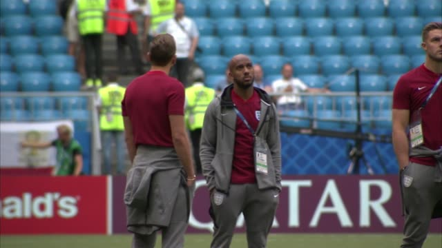England prepare for Sweden match RUSSIA Samara EXT Various of England players walking on the pitch before their Russia 2018 World Cup match against...