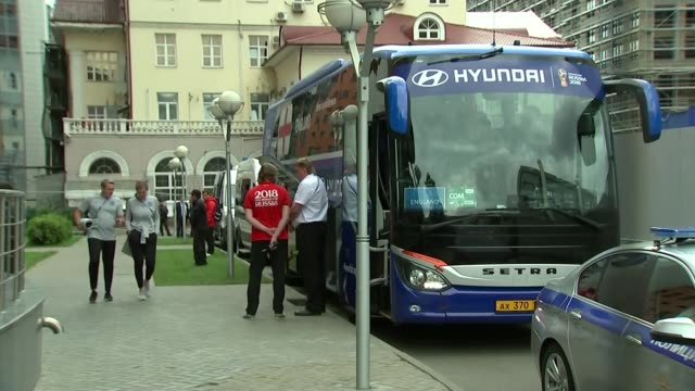 England squad hotel departure Russia St Petersburg Repino England players and coaching staff including Harry Kane and Gareth Southgate boarding coach...