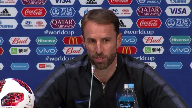 England team and fans prepare for semifinal against Croatia RUSSIA Moscow INT Gareth Southgate press conference SOT Moscow Luzhniki Stadium EXT...