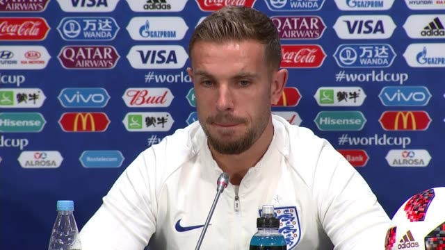 England team and fans prepare for semifinal against Croatia RUSSIA Moscow INT Jordan Henderson press conference SOT Moscow Luzhniki Stadium EXT...