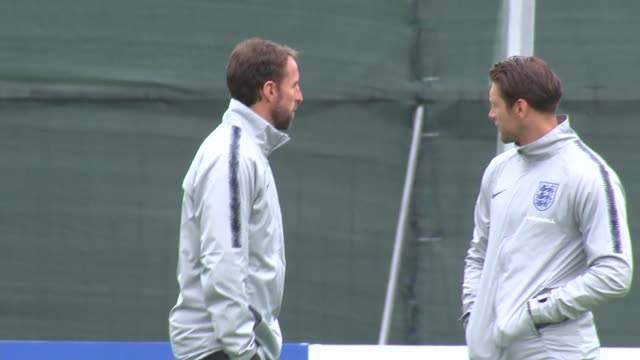 England training RUSSIA St Petersburg Repino EXT England Manager Gareth Southgate talking to another at England training session / England players...
