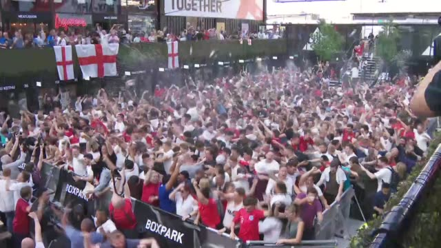russia 2018 world cup: england v croatia: croydon fan park; england: london: croydon: boxpark: ext various of england fans at the boxpark fan park in... - fan enthusiast stock videos & royalty-free footage