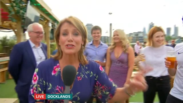 England lose to Belgium but qualify for last 16 ENGLAND London Docklands Vox pops before the match ENGLAND London Docklands Reporter to camera / vox...