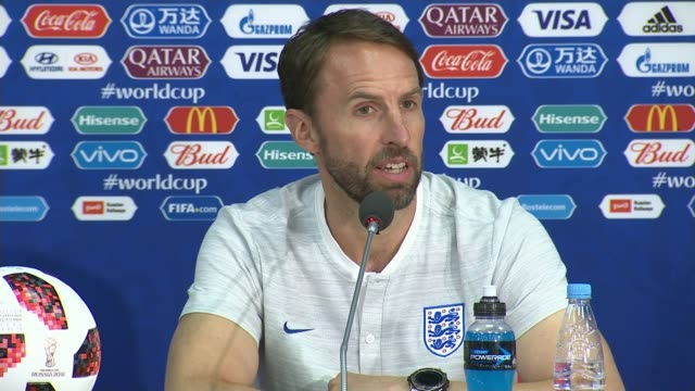 russia 2018 world cup finals: england prepare for colombia match; russia: st petersburg: repino: int gareth southgate press conference sot - internationaler fußball stock-videos und b-roll-filmmaterial