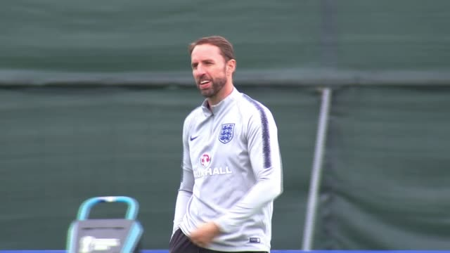 Gareth Southgate supervises training following shoulder dislocation but slip may heave revealed England team selection RUSSIA St Petersburg Repino...