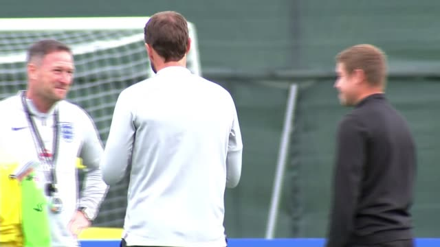 gareth southgate supervises training following shoulder dislocation but slip may heave revealed england team selection russia st petersburg repino... - national team stock videos & royalty-free footage