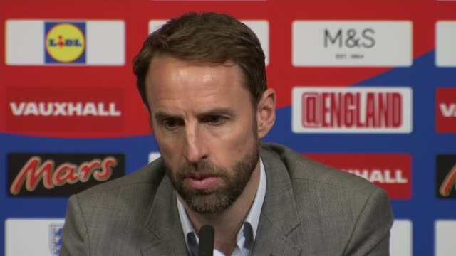 gareth southgate press conference england london wembley wembley stadium gareth southgate press conference sot - national team stock videos & royalty-free footage