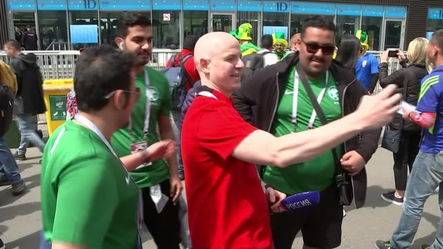 Opening day Russia Moscow World Cup 2018 opening ceremony fans RUSSIA Moscow Luzhniki Stadium EXT Various of Russia and Saudi Arabia fans outside...
