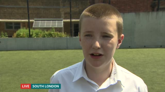 reaction to England's semifinal loss to Croatia England London Camberwell Sacred Heart School EXT Reporter to camera / Vox pops schoolchildren/ Luke...