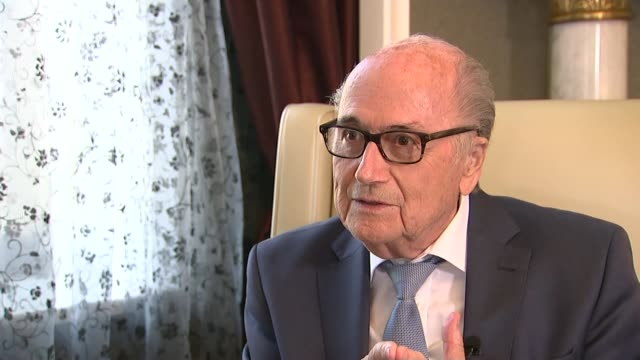 Sepp Blatter interview RUSSIA Moscow INT Sepp Blatter interview SOT On attending the World Cup in Russia / invitation from Vladimir Putin / his...