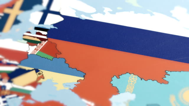 russia borders wiht national flag on world map - russian flag stock videos & royalty-free footage