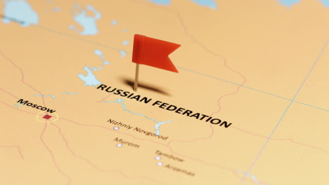 vídeos de stock e filmes b-roll de russia federation with pin - russia