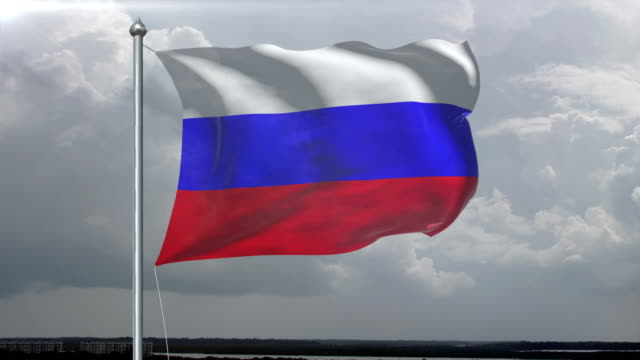 russia flag hd 1080, pal, ntsc, alpha included, looping - digital enhancement stock videos and b-roll footage