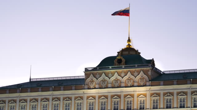 russia, flag over the presidential palace in moscow kremlin. - moscow russia stock videos & royalty-free footage