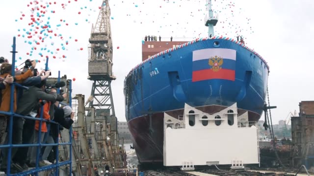 russia has launched the ural a new generation nuclear icebreaker set to explore the northern sea route and reinforce russia's presence in the arctic - russia stock videos & royalty-free footage