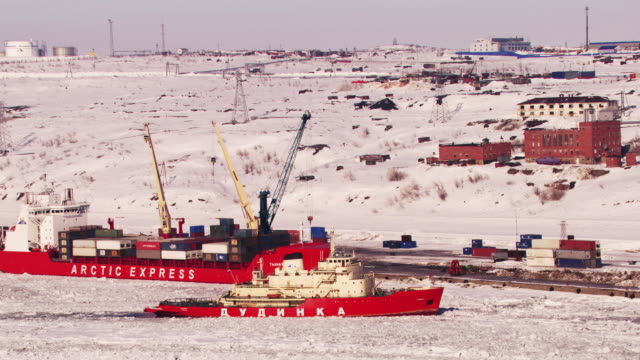 russia : icebreaker in doudinka port - russia stock videos and b-roll footage