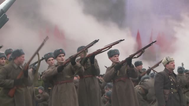russia marks the 75th anniversary of the 1941 historical parade when red army soldiers marched past the kremlin walls towards the front line to fight... - soviet military stock videos & royalty-free footage