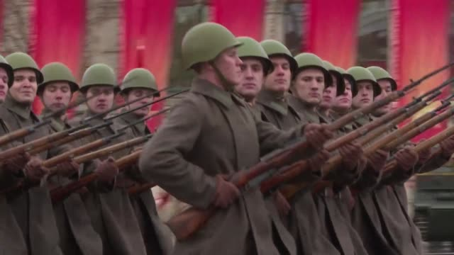 russia marks the 76th anniversary of a historic 1941 parade when red army soldiers marched past the kremlin walls towards the front line to fight... - marching stock videos & royalty-free footage