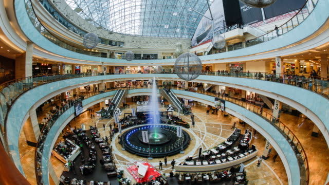 russia, moscow, moscow-city, afimall city retail and entertainment centre,  interior - time lapse - moscow russia stock videos & royalty-free footage