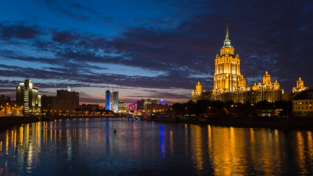 Russia, Moscow, Moskva river, Hotel Ukraine - one of the seven sister skyscrapers, built in Moscow at the end of Stalin's reign (early 1950s)