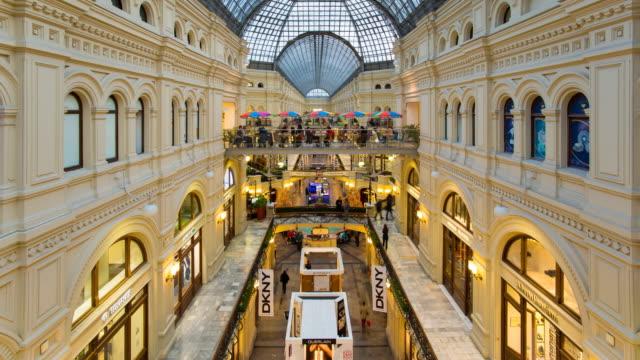 vidéos et rushes de russia, moscow, red square, gum department store, interior - cour intérieure
