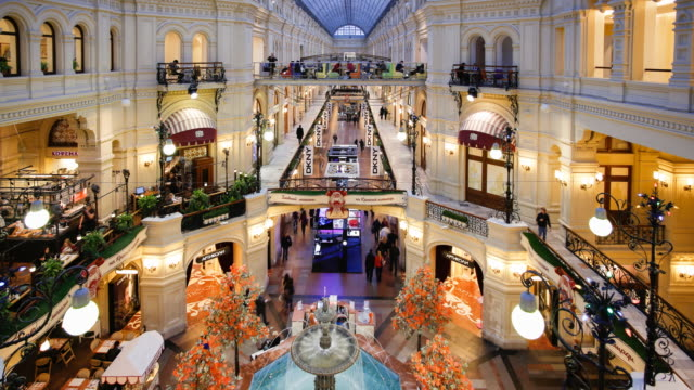 russia, moscow, red square, gum department store, interior - moscow russia stock-videos und b-roll-filmmaterial