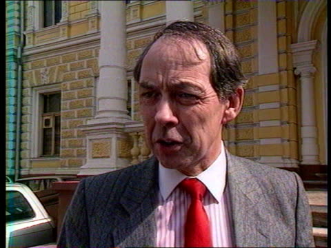 Russia Politics British Expulsions USSR MS British Embassy Moscow MS British businessmen out Embassy entrance EXT CMS ALAN COOPER interview SOF...