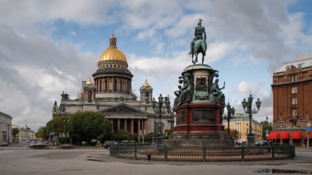 Russia, Saint Petersburg, Golden dome of St Isaac's Cathedral (1818) and the equestrian statue of Tsar Nicholas (1859)