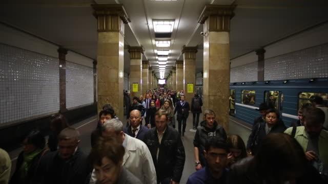 Russia, Saint Petersburg,  Metro station platform