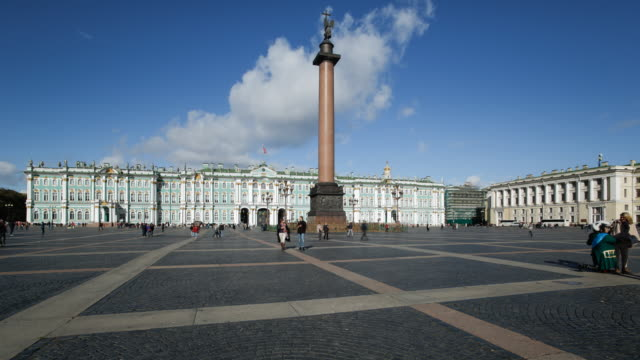 Russia, Saint Petersburg, Palace Square, Alexander Column and the Hermitage, Winter Palace