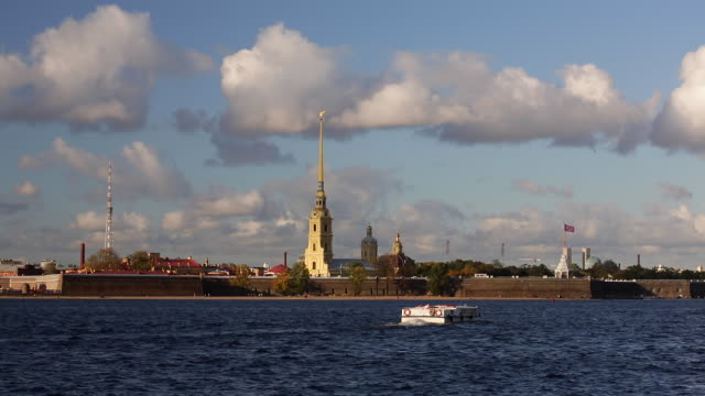 russia, saint petersburg, peter and paul fortress on neva riverside, classified as world heritage by unesco - russian culture stock videos & royalty-free footage