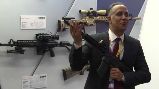 russia shows off its next generation kalashnikov assault rifles helicopters and facial recognition systems as president vladimir putin hosts dozens... - weaponry stock videos & royalty-free footage