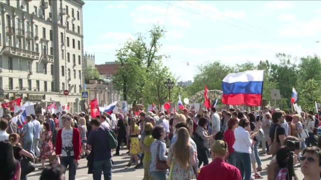 russia stages a grandiose military parade through moscows red square as part of nationwide celebrations to mark 71 years since the soviet unions... - parade stock videos & royalty-free footage