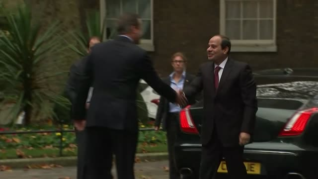 british tourists stranded over bomb fears england london downing street ext abdel fattah elsisi along and shaking hands with david cameron mp - kogalymavia flug 9268 stock-videos und b-roll-filmmaterial