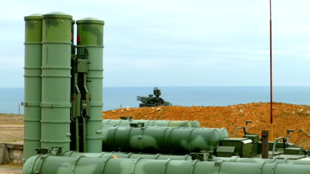russian anti-aircraft missile system of large and medium range on the coast - nuclear missile stock videos & royalty-free footage