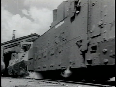 Russian Armored train cars w/ gun turrets passing TRACKING train turret guns WWII World War II