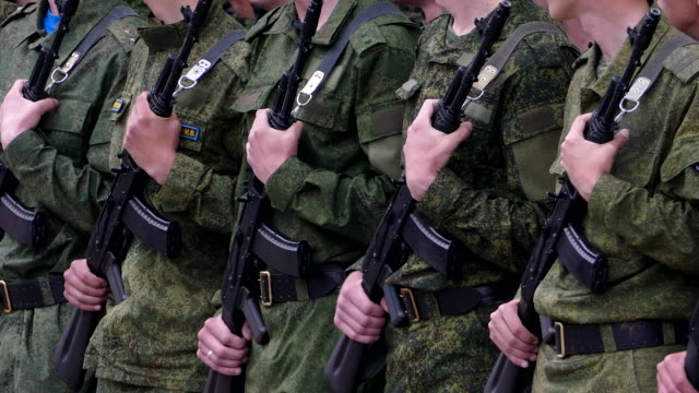Russian army soldiers in the ranks