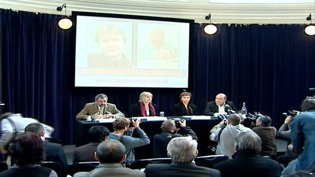 vídeos de stock, filmes e b-roll de russian - british diplomatic relations/ berezovsky 'revolution' comments; exact date unknown berezovsky press conference with widow of poisoned... - widow