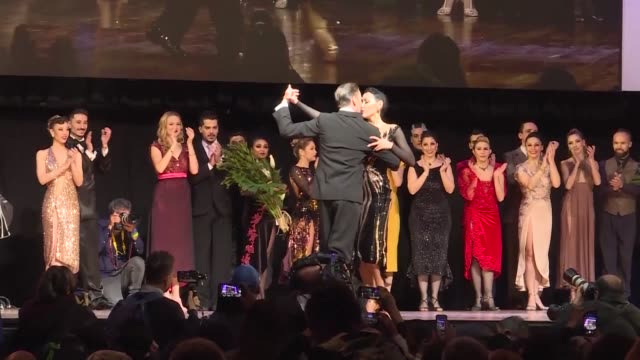 russian dance pair are crowned tango world champions in the choreographed stage tango category dancing on juan carlos cobian's los mareados in the... - tangoing stock videos & royalty-free footage