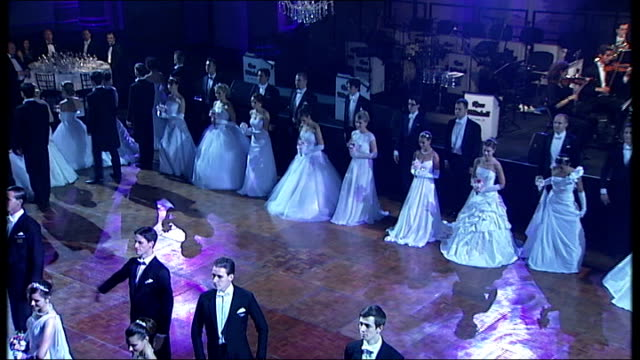 russian debutante ball takes place in london england london int **music heard sot** various high angle views men and women dancing - debutante stock videos & royalty-free footage