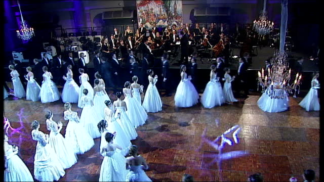 russian debutante ball takes place in london **music heard sot** high angle view men and women dancing women chatting lady colin campbell along and... - debutante stock videos & royalty-free footage