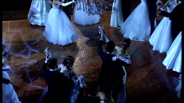 russian debutante ball takes place in london **music heard sot** various high angle views men and women dancing couples ballroom dancing victoria... - ballroom stock videos & royalty-free footage